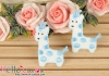 1Pc Embroidered Iron On Patch # Cute Giraffe Blue