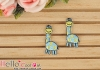 1Pc Embroidered Iron On Patch # Mini Cute Giraffe Blue