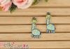 1Pc Embroidered Iron On Patch # Mini Cute Giraffe Blue
