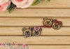 1Pc Embroidered Iron On Patch # Mini Cute Bear Pink