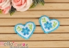 1Pc Embroidered Iron On Patch # Cute Heart Blue
