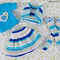 【HO-01】Blythe / Pullip Outfit Set # Stripe Blue