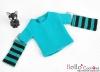 354.【NT-3】Blythe Pullip(Separate Sleeves)Tee # Stripe Teal