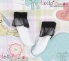 【KS-A01】(B/P) Lace Top Ankle Socks # White+Black