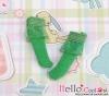 【KS-A17】(B/P) Lace Top Ankle Socks # Green
