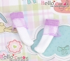 【KS-A20】(B/P) Lace Top Ankle Socks # White+Purple
