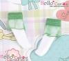 【KS-A23】(B/P) Lace Top Ankle Socks # White+Green