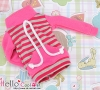 132.【NH-B06】Blythe Pullip Pocket Top # Stripe Deep Pink+Grey
