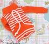 134.【NH-B07】Blythe Pullip Pocket Top # Stripe Orange Red+White