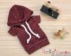 226.【NP-A16】B/P Hoodie Top(Short Sleeves)# Dot Crimson