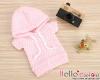 227.【NP-A17】B/P Hoodie Top(Short Sleeves)# Grid Pink