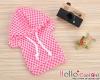 229.【NP-A18】B/P Hoodie Top(Short Sleeves)# Grid Deep Pink