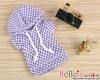 230.【NP-A19】B/P Hoodie Top(Short Sleeves)# Grid Violet