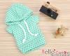 233.【NP-A21】B/P Hoodie Top(Short Sleeves)# Grid Aqua Green