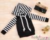 21.【NP-B01】B/P Hoodie Top(Long Sleeves)# Black Stripe