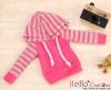 245.【NP-B02】B/P Hoodie Top(Long Sleeves)# Deep Pink+Grey Stripe