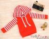 23.【NP-B03】B/P Hoodie Top(Long Sleeves)# Red Stripe