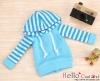40.【NP-B04】B/P Hoodie Top(Long Sleeves)# Blue Stripe