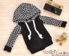 70.【NP-B08】B/P Hoodie Top(Long Sleeves)# Grid Black