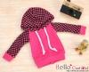 71.【NP-B09】B/P Hoodie Top(Long Sleeves)# Grid Deep Pink+Black