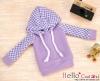 79.【NP-B12】B/P Hoodie Top(Long Sleeves)# Grid Violet