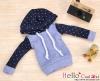 89.【NP-B15】B/P Hoodie Top(Long Sleeves)# Dot Blue