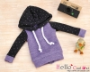 109.【NP-B16】B/P Hoodie Top(Long Sleeves)# Dot Purple