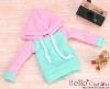 212.【NP-B21】B/P Hoodie Top(Long Sleeves)# Pink+Aqua