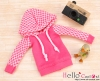 373.【NP-B25】B/P Hoodie Top(Long Sleeves)# Grid Deep Pink