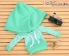 214.【NP-C01】B/P Hoodie Top(Big Cap+Pocket)# Grid Aqua Green
