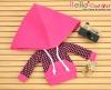 258.【NP-C07】B/P Hoodie Top(Big Cap+Pocket)# Grid Deep Pink+Black