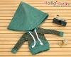 336.【NP-C12】B/P Hoodie Top(Big Cap+Pocket)# Dot Green