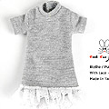 136.【NS-L01】Blythe / Pullip Long Top w/Lace # Grey