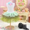 167.【PD-02】Blythe/Pullip Tulle Cake Mini Skirt # Multi-Coloured Green
