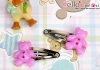 Y143.Mini Hair Pin(Button)x 1 Pairs/Star Yellow