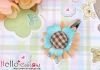 Y153.Mini Hair Pin(2-Flower)x 1 pc/Pale Brown