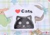【PR-25】B/P Printing Tee Short Sleeves(Love Cats)# White