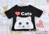【PR-26】B/P Printing Tee Short Sleeves(Love Cats)# Black