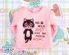 【PR-39】B/P Printing Tee Long Sleeves(No Milk Cats)# Pink