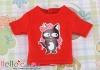 i55.【PR-55N】B/P Printing Tee(Black Cats + Bow)# Red