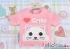 【PR-57】B/P Printing Tee Short Sleeves(Love Cats)# Pink