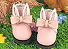 【23-5】B/P Cute Bunny Ears w/Bow Mini Ankle Boots # Pink
