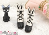 【24-1】B/P Cute Bunny Ears Mini Boots # Black