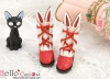 【24-5】B/P Cute Bunny Ears Mini Boots # Red