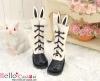 【25-1】B/P Cute Bunny Ears 5 Hole Boots # Black