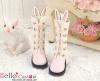 【25-3】B/P Cute Bunny Ears 5 Hole Boots # Pink