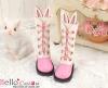 【25-4】B/P Cute Bunny Ears 5 Hole Boots # Deep Pink