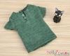 J49.【TD-6】Taeyang Short Sleeves Tee(2-Buttons)# Green